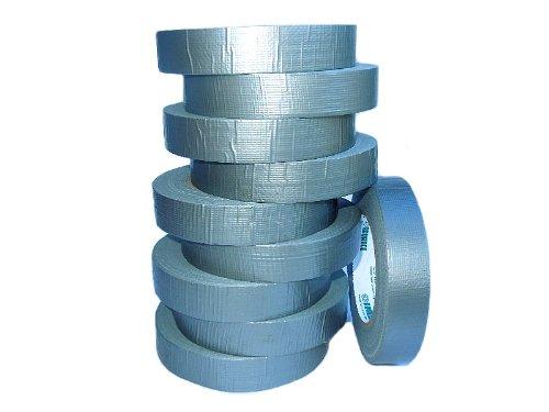 Gewebeband | Steinband, silber, stark klebend, 25 mm x 50 m, 10 Rollen