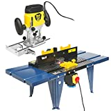"Wolf 1200 Watt Variable Speed Plunge Router and Wolf Die Cast Aluminium Top Router Table System Kit/Spindle Moulder - Complete with 6mm, 8mm and 1/4"" Collets"