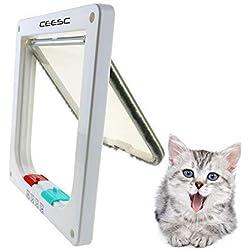CEESC Puerta magnética para mascotas con puerta abatible y cerradura de 4 vías para gatos, gatitos y Perrito (S, Blanco)