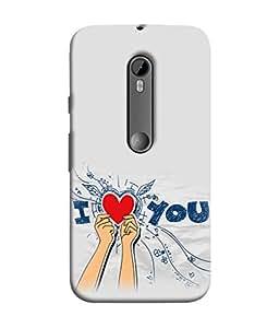 PrintVisa Designer Back Case Cover for Motorola Moto G3 :: Motorola Moto G (3rd Gen) :: Motorola Moto G3 Dual SIM (I Love You In Grey Design)