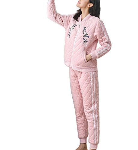 Nachtwäsche Winter Warme Pyjamas Damen Flanell Pyjamas Weiche Gemütliche Pyjamas Coral Cashmere Langarm Pyjama Set Lässige Pyjamas,Pink-L (Cashmere-flanell-hose)
