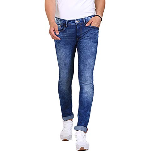 TURMS Men's Denim Stain Repellent and Odour-free The Navigator Slim-Fit Jeans (Mid Blue, 34)