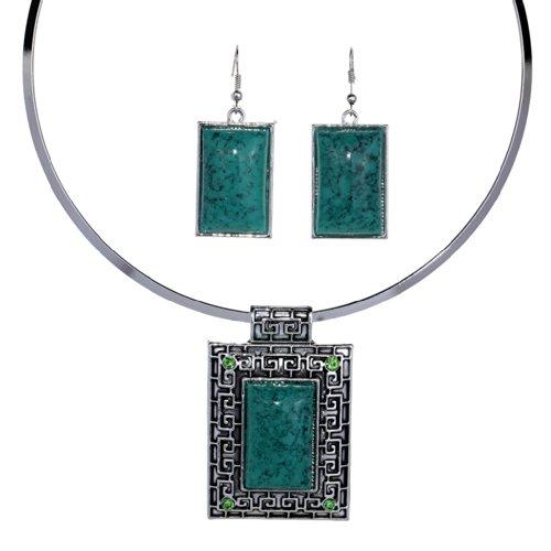Yazilind tibetischen Silber geprägt Rhombus Grün Türkis Erklärung Kollier Ohrringe Schmuck-Set