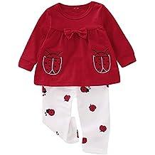 859b82bd4369e Puseky 2pcs   Set bébé Fille Enfants Bambin Coccinelle Imprimer Manches  Longues Bowknot Tops + Pantalons