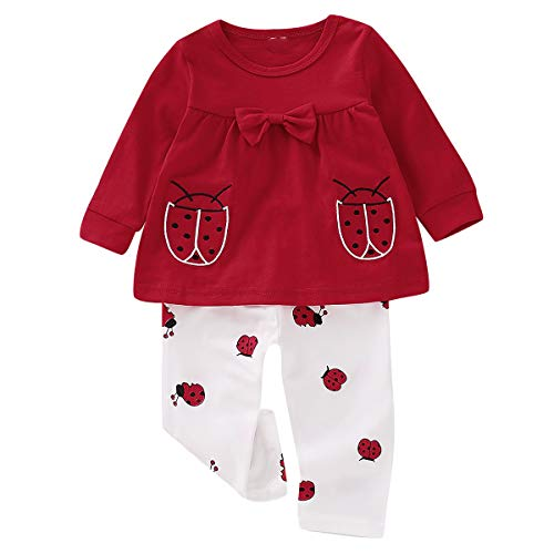 Marienkäfer Kostüm Mädchen Baby - puseky 2 Teile/satz Baby Mädchen Kinder Kleinkind Marienkäfer Print Langarm Bowknot Tops + Pants Outfits Set (Color : White+Red, Size : 0M-6M)