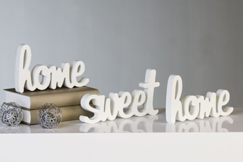 dekora - decorazione home sweet home, 3 pz, in legno, colore: bianco