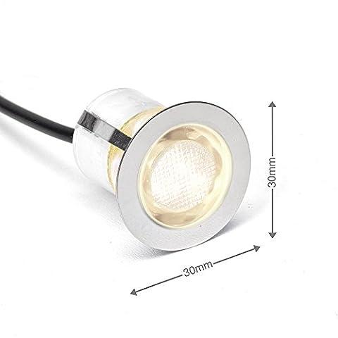 10x LED Einbauspots / Einbauleuchten, Ø 30 mm, IP44 - spritzwassergeschützt, warmweiß, Metall / Glas, edelstahl