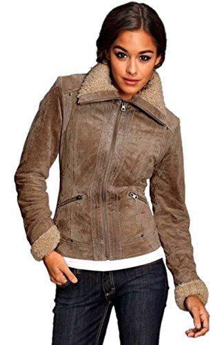 Tom Tailor Damen Lederjacke aus Velourleder beige Gr. 36