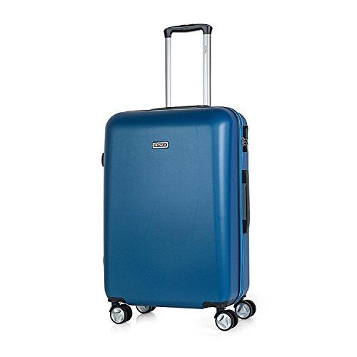 ITACA - T58060 Maleta Trolley 60 cm Mediana de ABS. Rígida, Resistente, Robusta y Ligera. Mango telescópico, 2 Asas retráctiles. 4 Ruedas Dobles, Color Azul Vaquero