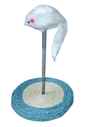 Sconosciuto tappetino antigraffio in sisal con mouse (bianco) e molla in metallo, rotondo, molla in metallo, giocattolo, gatto