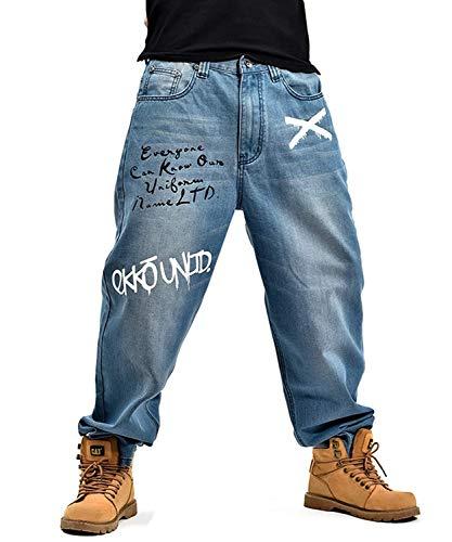 Pantaloni di jeans da uomo pantaloni da danza stile hip-hop skinny pantaloni larghi di jeans classici alla moda retrò allentati (color : colour, size : xl)