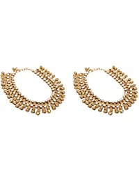 ETHNIC INDIA Wedding Gold Alloy Payal Anklet Pair For Women (AN157)