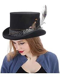 FuweiEncore Mujeres Wen Fedora Sombrero Steampunk Sombrero Steampunk Gear Sombreros  Sombrero Top (Color   Negro b957fa3413e5