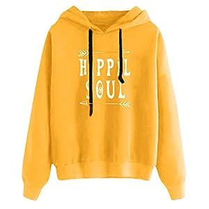 AQIN Damen Beiläufig Buchstabe Gemustert Lange Ärmel Hoodie Pullover Sweatshirt Langarm-Kapuzenpullover Warm Halten