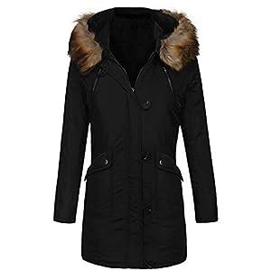 TianWlio Jacken Damen Mit Kapuze Warme Winter Gefütterte Parkas Lange Mäntel Outwear Parka Mäntel Herbst Winter Warme Jacken Strickjacken Schwarz S-XXL