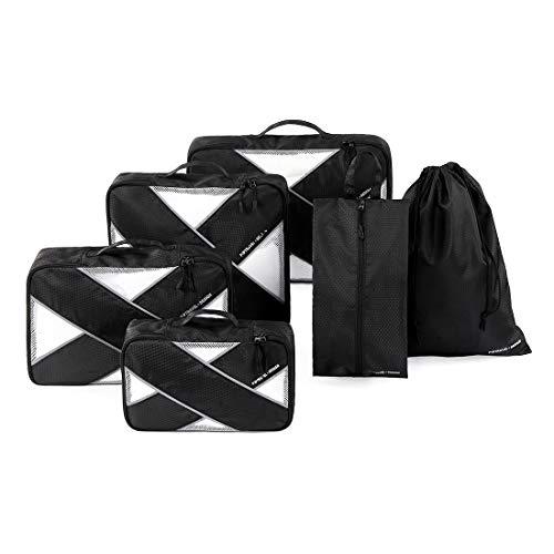 Tuscall Set di 6 Organizer per Valigia da Viaggio Cubi da Imballaggio - Perfetto di Viaggio Dei Bagagli Organizzatore (Nero)