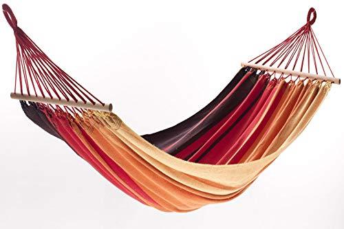 Jobek Orinocco Stabhängematte, Streifen Xingu rot, recycelte Baumwolle, 200 x 125 cm mit Stab für Outdoor und Garten - Die Brasilianische Holz-möbel