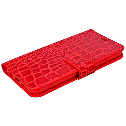 HB-Int PU Leder Hülle für iPhone X Wallet Lederhülle Standfunktion mit Handschlaufe Kreditkartenfächer Book Style Handytasche Krokodil Muster Schutzhülle Magnetverschluss Ledertasche Klapp Protective  Rot