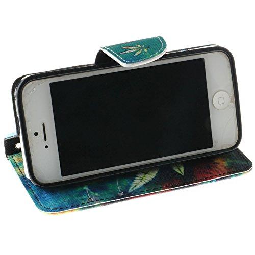 iPhone SE Hülle iPhone 5s Hülle iPhone 5 Hülle, Cozy Hut Handyhülle iPhone SE / 5 / 5S , PU Leder Tasche Hülle Schutzhülle Case Magnetverschluss Telefon-Kasten Handyhülle Standfunktion mit Kartenfach  Grass aescinate