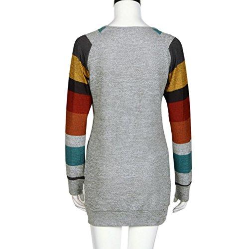 Oyedens Taglia Grossa Maglietta T-Shirt Da Donna Casual Manica Lunga O-Collo Sciolto A Strisce Giuntura Abbigliamento Donna Camicetta Moda Tops Plus Size Grigio-Giallo