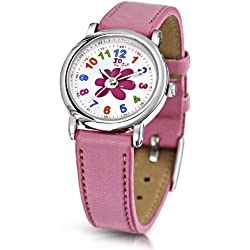 Jo For Girls Quartz Watch with White Dial Analogue Display and Pink Plastic or Pu Strap JW001