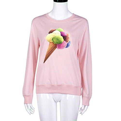 Bluse Damen Amlaiworld Sweatshirt Eis Print Langarm kausale Bluse Rosa