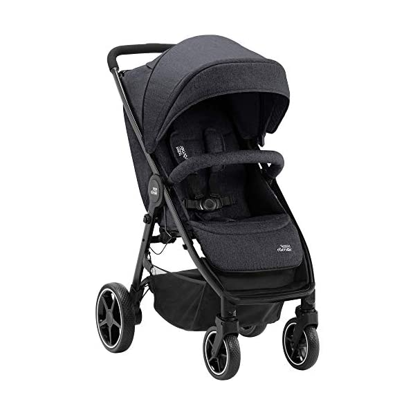 Britax Römer B-Agile M Stroller Pushchair, Birth to 4 Years (22kg), Black Shadow Britax Römer Compatible with all Britax Römer infant carriers with optional adapters as well as the Britax Römer carrycot Lie-flat backrest - suitable for a soft carrycot Large protective hood with viewing window and upf 50+ sun protection 3
