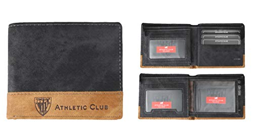 5803b3c2d66a6 Billetero Oficial Athletic Club Bilbao en Color Negro con Franja en Color  marrón grabada con Escudo