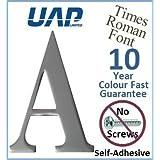 UAP - Letra A autoadhesiva de aluminio anodizado para la puerta, fuente Times Roman, 76,2 mm, color plateado