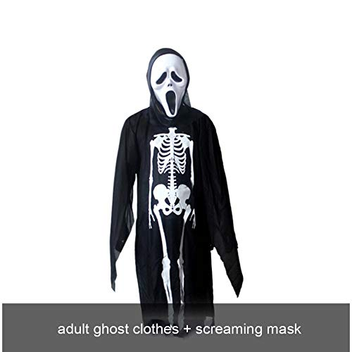 SPFAZJ Skelett Skelett Geist Kostüm Masquerade Kostüm Halloween Kostüm Kleidung Erwachsene Kind Horror Maske