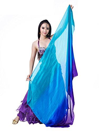 Dance Fairy Pintado a Mano Natural del Color del Gradiente del Vientre Pura Seda únicas de las Nuevas Mujeres de la Bufanda de la Danza(Lake blue,Royal blue,Purple