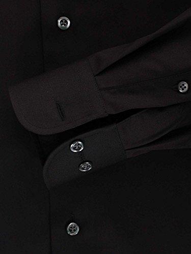 CASAMODA Messieurs Chemise d'affaires Également disponible en grandes tailles 100 % coton Noir