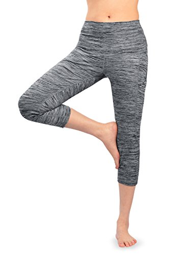 FFMC mit hoher Taille Yoga Capri Leggings mit seitlichen Taschen, 4-Wege Stretch | Tummy Control | Training & Laufen | Comfort Fit (Heather Grey in 4 Größen) (Small) (Capris Comfort)