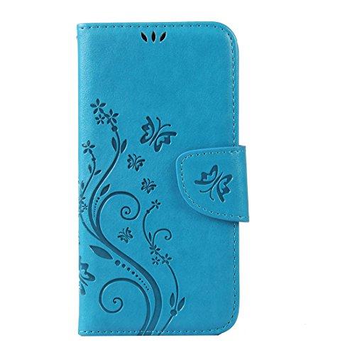 WindTeco Aquaris M4.5 Hülle, Retro Geprägt Schmetterling, Blume Muster Folio PU Leder Flip Case Handyhülle Brieftasche Schutzhülle mit Stand Funktion und Kartenfächer für BQ Aquaris M4.5, Blau