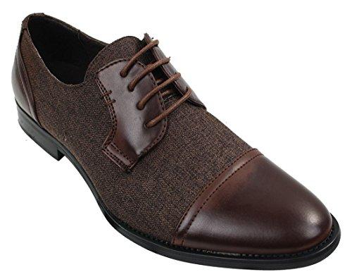 Homme Chaussure Décontractée à lacets Tweed tissu & cuir PU style Rétro Vintage Brun