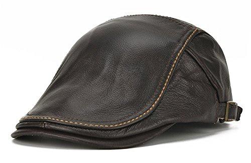 Roffatide Hombres Boina de Cuero Gorra Plana Sombrero Cuero Sombrero Plano Ajustable Marron Oscuro