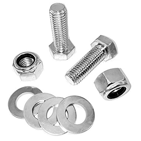 M14 x 45mm Set Screw Kit with Nylon Insert Nuts & Plain Washers . Pack of 2.( FREE Delivery )