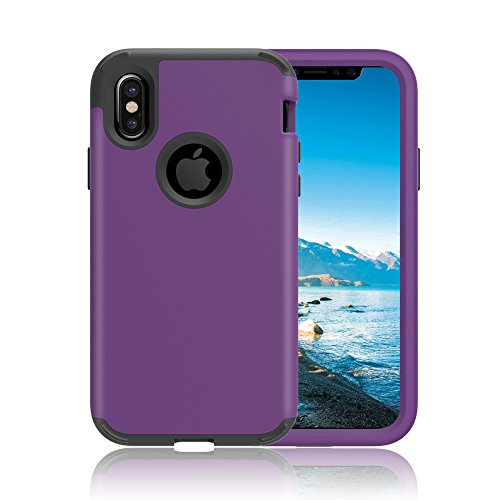 """iPhone X Case, VMAE Three Layer Heavy Duty Hybrid Full Body Defender Protective Cover High Impact Resistant Armor Case For iPhone X / iPhone 10 5.8"""" 2017 Release - Mint Purple"""