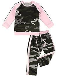 puseky Traje deportivo para niña de manga larga con estampado de camuflaje