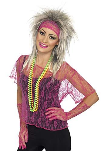 Smiffys Damen Spitzen Oberteil mit Stirnband und Handschuhen, One Size, Neon Pink, 27235