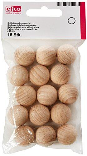 Efco, palline di legno non trattato senza foro, naturale, 20mm, 15 pezzi