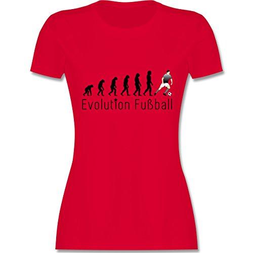 Evolution - Fußball Evolution - tailliertes Premium T-Shirt mit Rundhalsausschnitt für Damen Rot