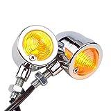 goofit Vintage Umbau Scheinwerfer Chrom/Bernstein Bullet LED Blinker Lampe für Harley Sportster Softail Bobber Roller