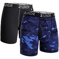 "2UNDR Swing Shift 6"" Boxer Brief 2-Pack (Black/Geode, Medium)"