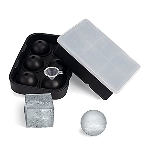 Moule à la boule de glace Bac à cubes de glace avec couvercle, Silicone 6 Sphères Round Ice Ball maker & 6 Large carré Formule de glaçons pour enfants avec pudding aux fruits Jelly Matière de jus de lait ou Cocktails, Whisky particules