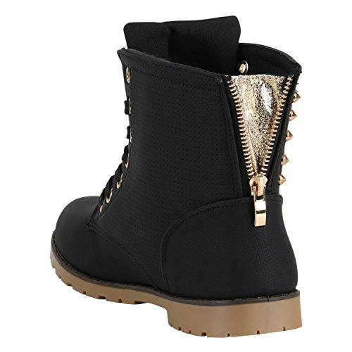 Damen Schnürstiefeletten Leder-Optik Profilsohle Stiefeletten Schuhe 149591 Schwarz Gold Nieten 37 Flandell