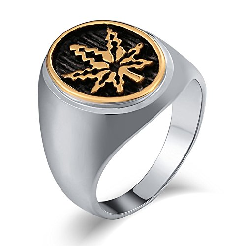(Aienid Schmuck Edelstahlring Skull Ovales Ahornblatt Gold Ringeherren Ringe Anker Größe:1.2X1CM Size:60 (19.1))