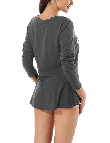 Yidarton Langarmshirt Damen T-Shirt Bluse Oberteile Patchwork Sweatshirt mit Daumenloch 2-Grau