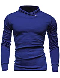 BUSIM Men's Long Sleeve Sweater Autumn Winter Solid Color Pullover Solid Color Tight Sweatshirt Shirt Top Comfortable...