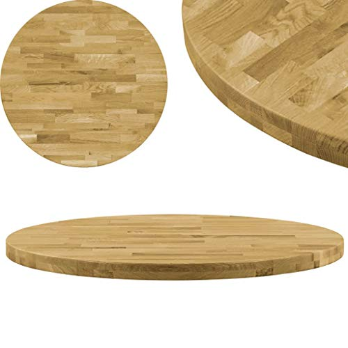 vidaXL Roble Tablero Mesa Redondo Madera 44 mm 900 mm Superficie ...